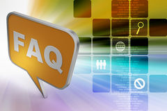 Word faq in a chat bubble. In color background Stock Images