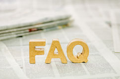 The word faq. Made ​​of paper mache letters stock photo