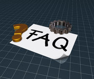 The word faq on paper sheet and gear wheel Stock Image
