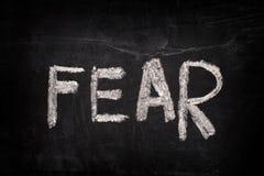 Word Fear on a blackboard royalty free stock image