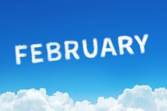 Word Februari van wolkenstoom wordt gemaakt op blauwe hemelachtergrond die Maand planning, tijdschemaconcept Royalty-vrije Stock Afbeeldingen