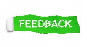 The word feedback appearing behind torn green paper.  stock illustration