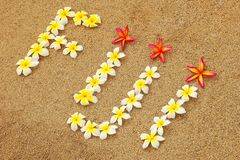 Word Fiji written on a beach with plumeria flowers Stock Photos