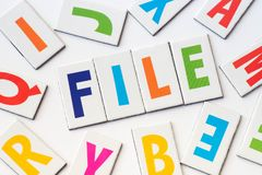 Word file  made of colorful letters Royalty Free Stock Photos