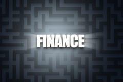 Word of Finance on Dark Maze. Illustrative word of finance with white letters on dark maze background Stock Photo