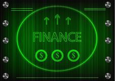 Word `finance` on a green background Royalty Free Stock Images