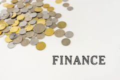 Word Finance with Malaysia Coins Royalty Free Stock Photos