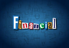 The word Financial made from cutout letters. On a blue background Stock Image