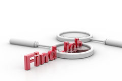 Word find job and lance. 3d rendering of find job and lance in isolated background Stock Photos