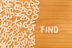 Word find made with block wooden letters Stock Image