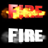 The word FIRE on a background of fire. Alpha channel. 3D illustration. The word FIRE on a background of fire Stock Photo