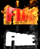 The word FIRE on a background of fire. Alpha channel. 3D illustration Stock Image