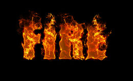 Word Fire on black background in red, fiery letters Stock Photo