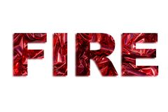 Word fire illustration. Word fire and flames illustration made of letters with burning red colour Stock Photo