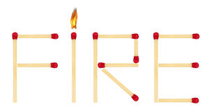 Word Fire made of matches Stock Image