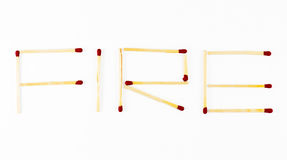 Word Fire made of matchsticks Royalty Free Stock Photos