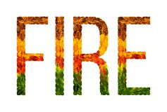 Word fire written with leaves white isolated background, banner for printing, creative illustration of colored leaves. Fire word is written with leaves white Royalty Free Stock Photography