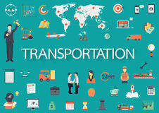 Word with flat icons. Transportation concept. Royalty Free Stock Photo