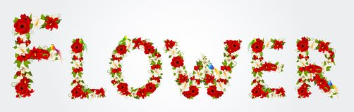 Word from flowers and bird Stock Photo