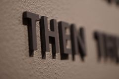 A word in focus on a wall. A group of words that fade into blurryness Royalty Free Stock Photos
