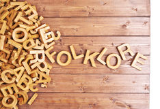 Word folklore made with wooden letters Stock Images