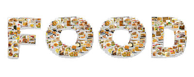Word Food Collage. Of lots of popular worldwide dinner foods and appetizers Royalty Free Stock Photography