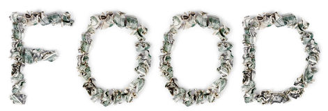 Food - Crimped 100$ Bills. The word 'food', made out of crimped 100$ bills Stock Photos