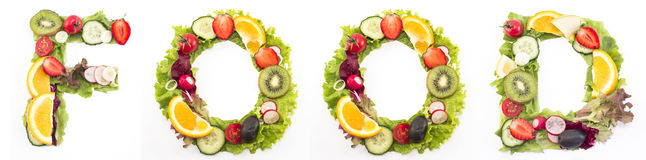 Word food made of salad and fruits Stock Image