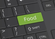 The word Food written on the keyboard. The word Food written on a green key from the keyboard Stock Photos