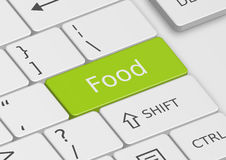 The word Food written on the keyboard. The word Food written on a green key from the keyboard Stock Images