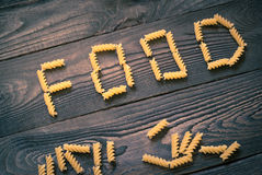 Word FOOD written pasta Royalty Free Stock Photo