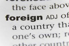 The Word Foreign Close Up stock images
