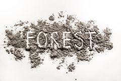 Word forest written in grey ash Royalty Free Stock Image