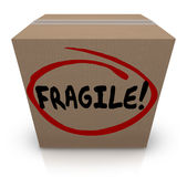 Word fragile écrit sur l'article sensible de mouvement d'emballage de boîte en carton Image stock