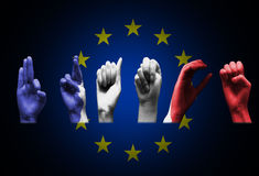 Word france over the european union flag Royalty Free Stock Photos