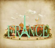 Word France on the square Royalty Free Stock Photography