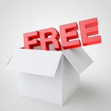 The word free coming out of a box white, special offer Stock Photography
