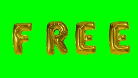 Word free from helium gold balloon letters floating on green screen -. Word free from helium gold balloon letters floating on green screen stock footage