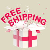 Word free shipping inside a gift box Stock Images