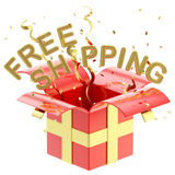 Word free shipping inside a gift box Stock Photos