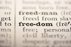 Word freedom. From the old dictionary, a close up