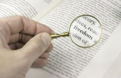 The word freedom read through a magnifying glass. An evocative image of the word `freedom` emphasized with an old and golden magnifying glass. It could symbolize Royalty Free Stock Photo