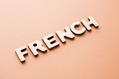 Word French on beige background Stock Photo