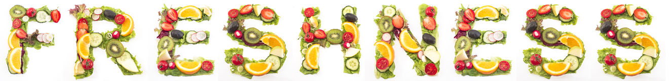 Word freshness made of salad and fruits Stock Photography