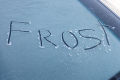 Free Word Frost On Windshield Of Car Stock Photo - 104764600