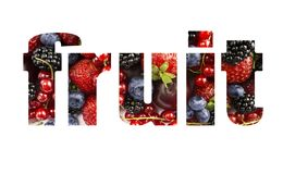 Word FRUIT composed of different fruits and berries. Ripe blackberries, blueberries, strawberries, red currants, plums.Top view. Word FRUIT composed of different royalty free stock images