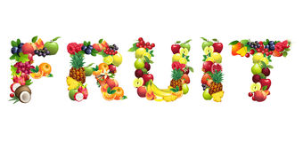 Word FRUIT composed of different fruits with leaves Royalty Free Stock Photos