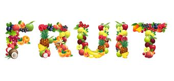 Word FRUIT composed of different fruits with Stock Photos