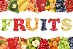 Word Fruits with apple, orange, lemon Stock Photo