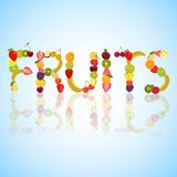 Word Fruits made of different fruits Stock Photo